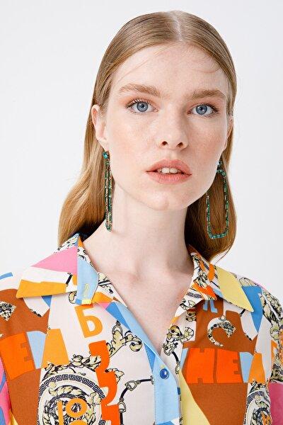 Kadın Polo Yaka Desenli Elbise 6055066 Sarı
