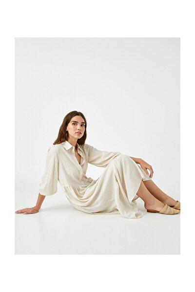 Kadın Bej Çizgili Elbise 2KAK88138CW