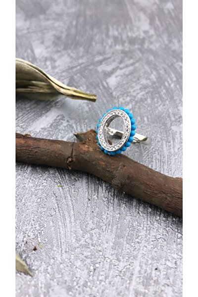 Turkuaz Ve Zirkon Taşlı Oval Model Şık Rodyum Kaplamalı Gümüş Yüzük