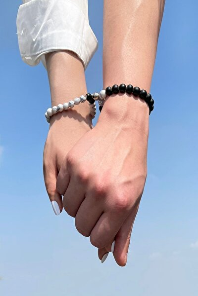 İkisi Bir Arada Mıknatıslı Cam Boncuk Sevgili Bilekliği