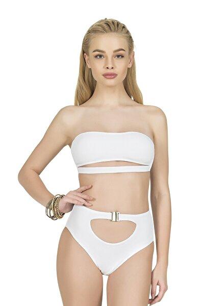 Kadın Yüksek Bel Aksesuarlı Beyaz Bikini Altı