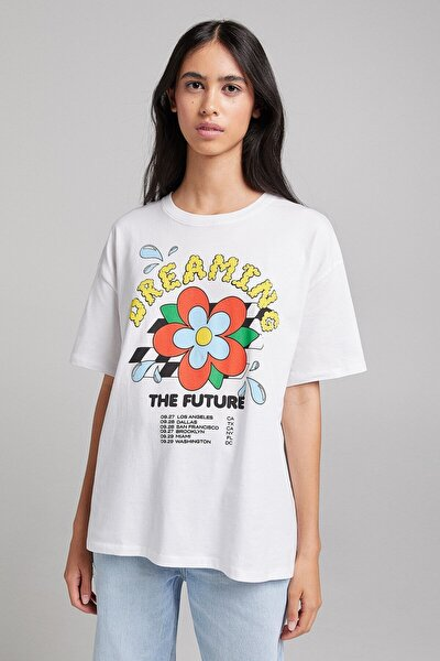 Desenli Kısa Kollu Oversize T-shirt