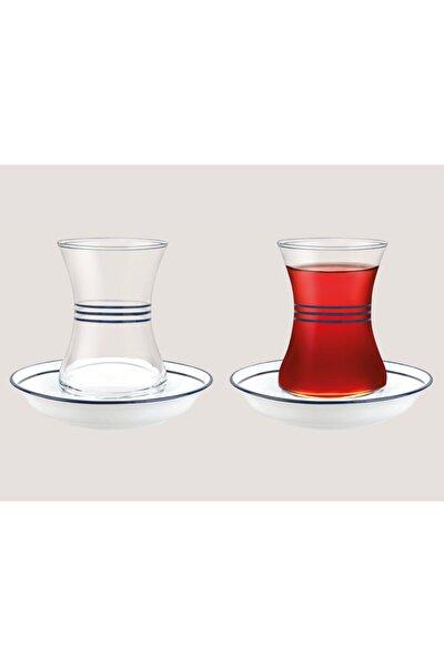 Yolande-çoklu Gövde Koyu Lacivert Dekorlu 8'li Çay Seti