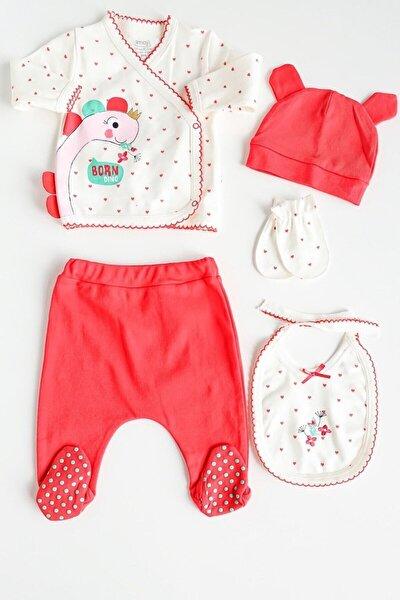 Kırmızı Dino Işlemeli 5 Parça Kız Bebek Takım