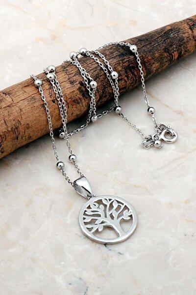 Hayat Ağacı Dorissa Rodyumlu Gümüş Kolye 7185