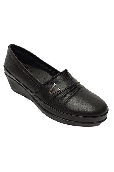 Kadın Siyah Hakiki Deri Ortopedik Ayakkabı 244-20