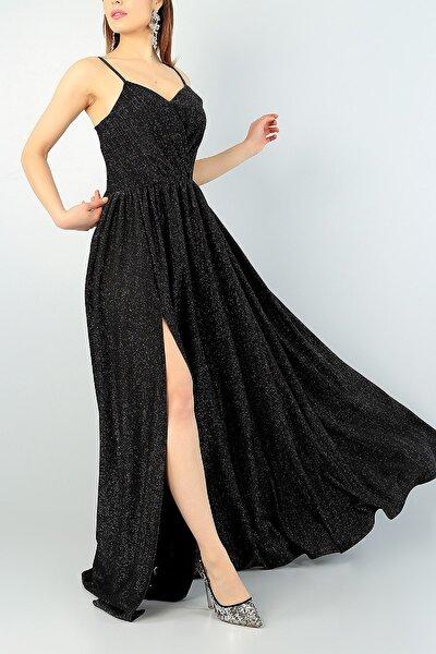 Işıltılı Kumaş Göğüs Dekolteli Yırtmaç Detaylı Uzun Siyah Abiye Elbise