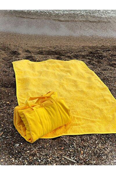 Sarı Çanta Görününlü Plaj Havlu Seti + Plaj Havlusu