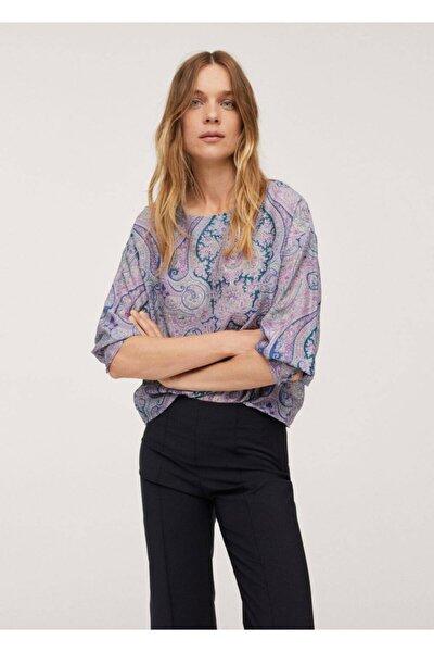 Kadın Pembe Paisley Desenli Bluz