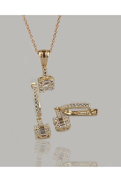 Gümüş Baget Taşlı İkili Set Kolye Küpe Gold Kaplama