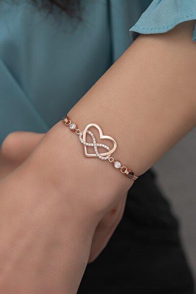 925 Ayar Gümüş Rose Sonsuz Kalp Bileklik