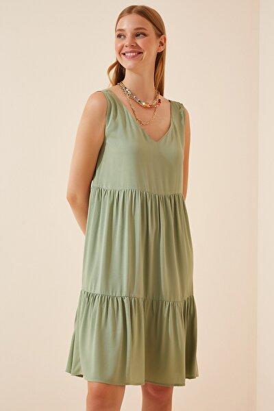 Kadın Çağla Yeşili Ön Arka V Yaka Yazlık Viskon Elbise DD00970
