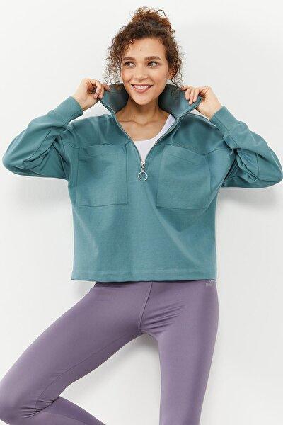 Tommylife Mint Yeşili Kadın Göğüs Cepli Yarım Fermuar Oversize Sweatshirt - 97154