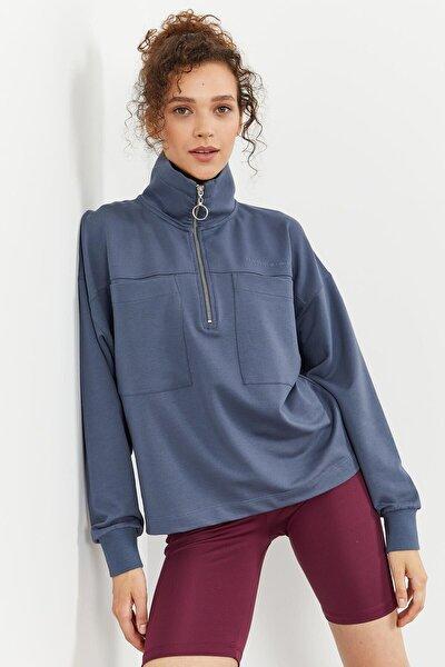 Tommylife Petrol Kadın Göğüs Cepli Yarım Fermuar Oversize Sweatshirt - 97154