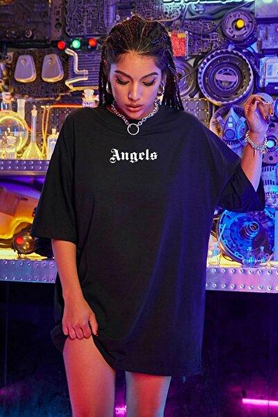 Kadın Siyah Oversize Pure Angels Baskılı T-shirt