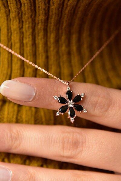 Kamelya Çiçeği Siyah Taşlı 14 K Rose Altın Kaplama Kadın Kolye