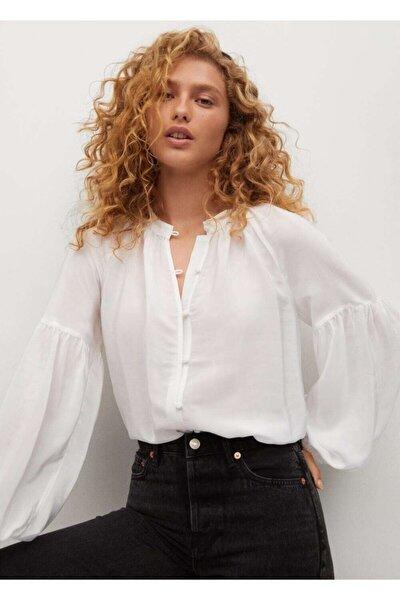 Kadın Kırık Beyaz Karpuz Kollu Bluz