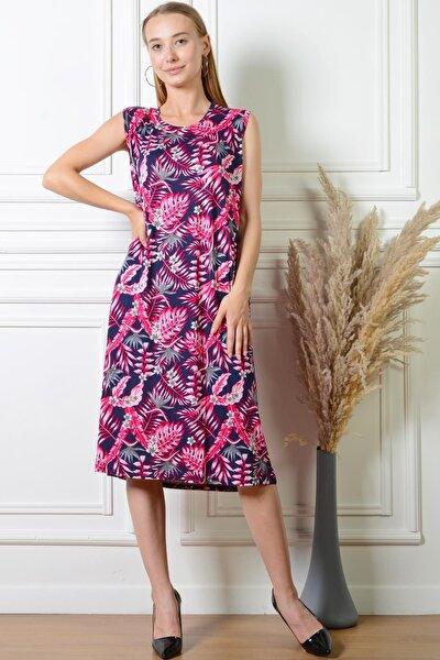 Kadın Yaprak Desenli Fuşya Rahat Kesim Büyük Beden Elbise Pmel25320