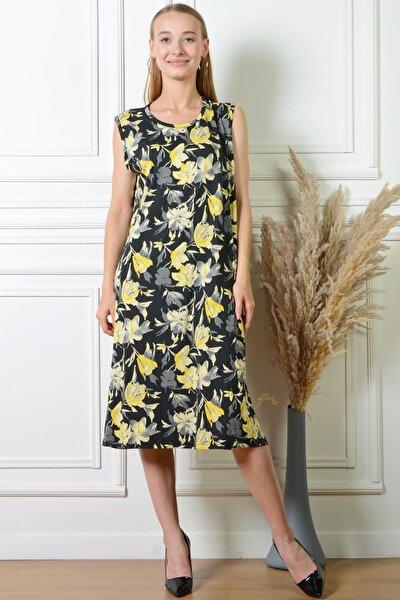 Kadın Lale Desenli Siyah Rahat Kesim Büyük Beden Elbise Pmel25322