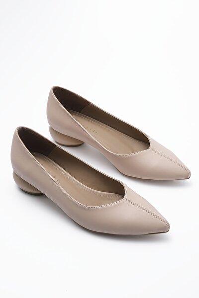 Kadın Bej Günlük Klasik Topuklu Ayakkabı Evara
