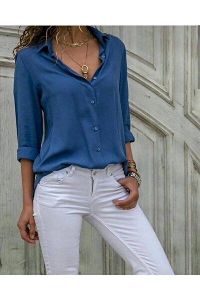 Kadın İndigo Mavi Dokuma Viskon Kumaş Efsane Basic Gömlek