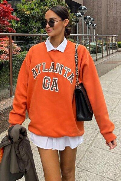 Kadın Turuncu Atlanta Baskılı Oversize Sweatshirt