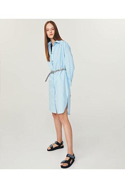 Kadın Mavi Poplin Gömlek Elbise