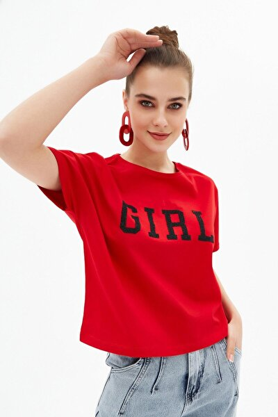 Kadın Kırmızı Crop Örme Kısa Kollu Tişört P21s201-2124
