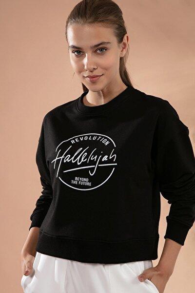 Kadın Siyah Baskılı Örme Crop Sweatshirt P20W-4423