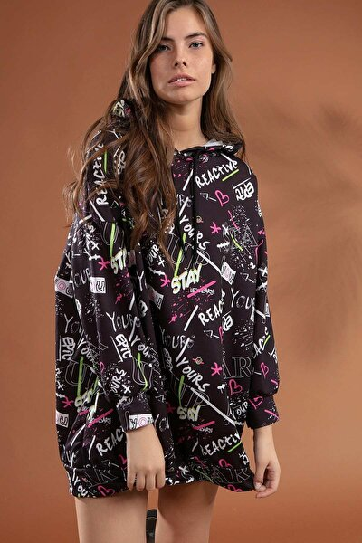 Kadın Grafik Desenli Kapşonlu Oversize Elbise Sweatshirt Y20w110-4125-7