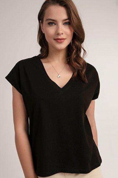 Kadın V Yaka Basic Tişört P21s201-2658