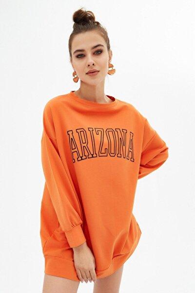 Kadın Arizona Baskılı Oversize Sweatshirt Elbise P21s110-3624