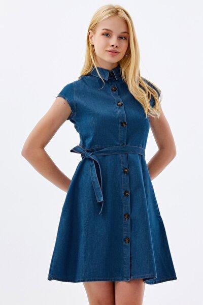 Kadın Kuşaklı Kısa Kollu Mini Kot Elbise Ptty20s-9677