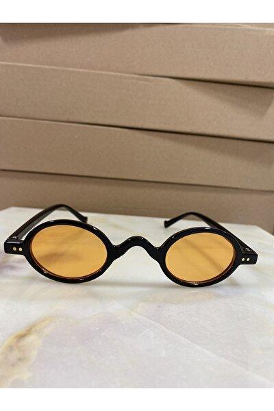 Unisex Siyah Turuncu Minimal Vintage Retro Kemik Güneş Gözlüğü