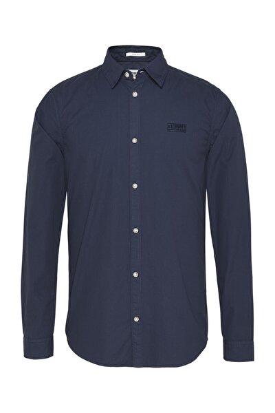 Erkek Mavi Gömlek Tjm Poplın Logo Shırt DM0DM08394