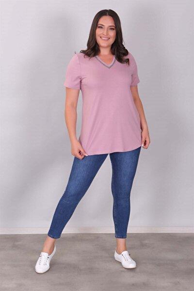 Kadın Lila 'v' Yaka Taş Şeritli Bluz