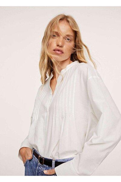 Kadın Beyaz %100 Pamuklu Bluz