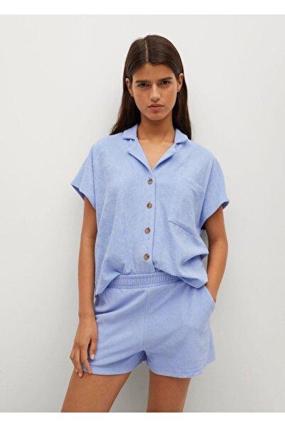 Kadın Gök Mavisi Pamuklu Havlu Dokuma Polo Tişört