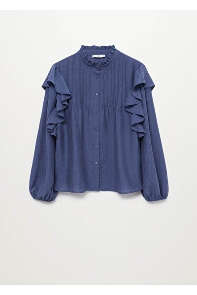 Kadın Mavi Fırfırlı Liyosel Bluz
