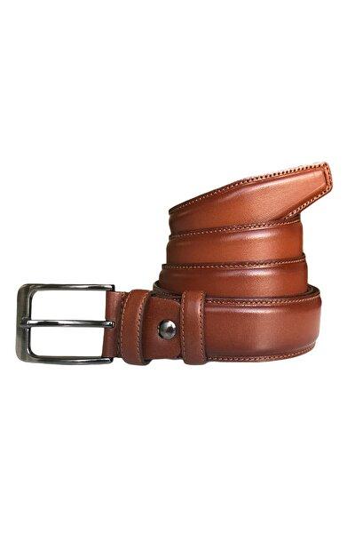 Hakiki Kaliteli Deri, Kenarları Dikişli Taba Klasik Kumaş Pantolon Kemeri 3,5 Cm