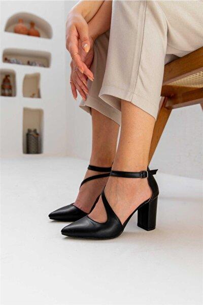 Heıdı Kadın Topuklu Açık Ayakkabı Cilt Siyah