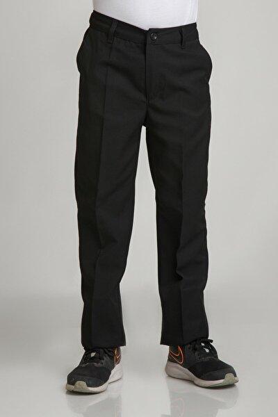Unısex Çocuk Beli Lastikli Siyah Okul Kumaş Pantolon