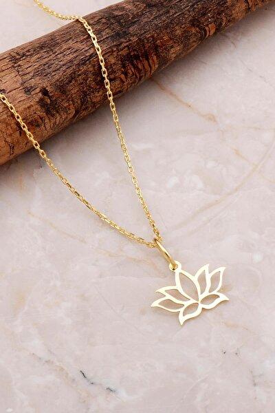 Lotus Çiçeği Altın Yaldızlı Gümüş Kolye 7193