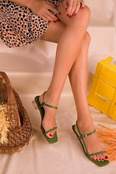 Yeşil Kadın Klasik Topuklu Ayakkabı 16417