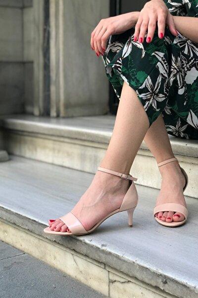Nude Rugan Deri Tek Bant Topuklu Ayakkabı - Aurora