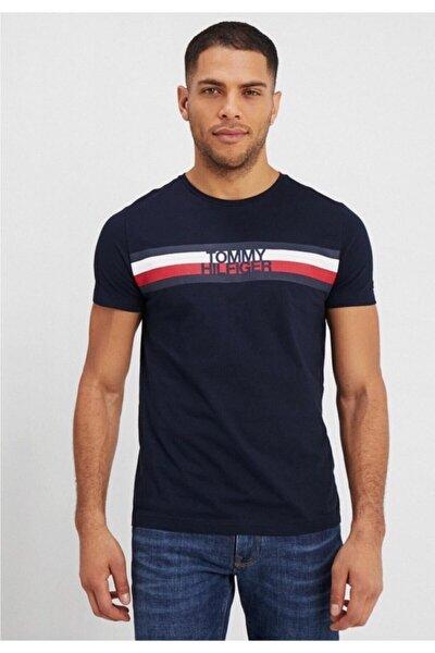 Men's Stripe Print Logo Erkek T-shirt