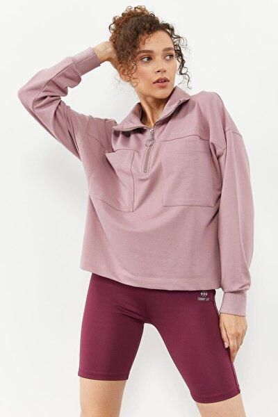 Tommylife Gül Kurusu Kadın Göğüs Cepli Yarım Fermuar Oversize Sweatshirt - 97154