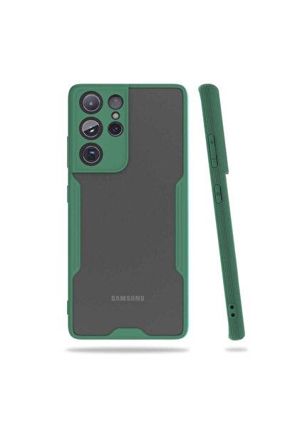 Galaxy S21 Ultra Uyumlu Nezih Case Kamera Korumalı Kenarları Renkli Mat Silikon Kılıf Koyu Yeşil