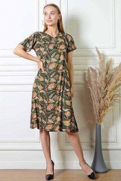 Kadın Yaprak Desenli Haki Düğme Detaylı Büyük Beden Elbise Pmel25316