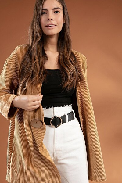 Kadın Düğme Detaylı Fitilli Kadife Ceket 38069